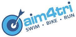 aim for tri swim bike and run logo